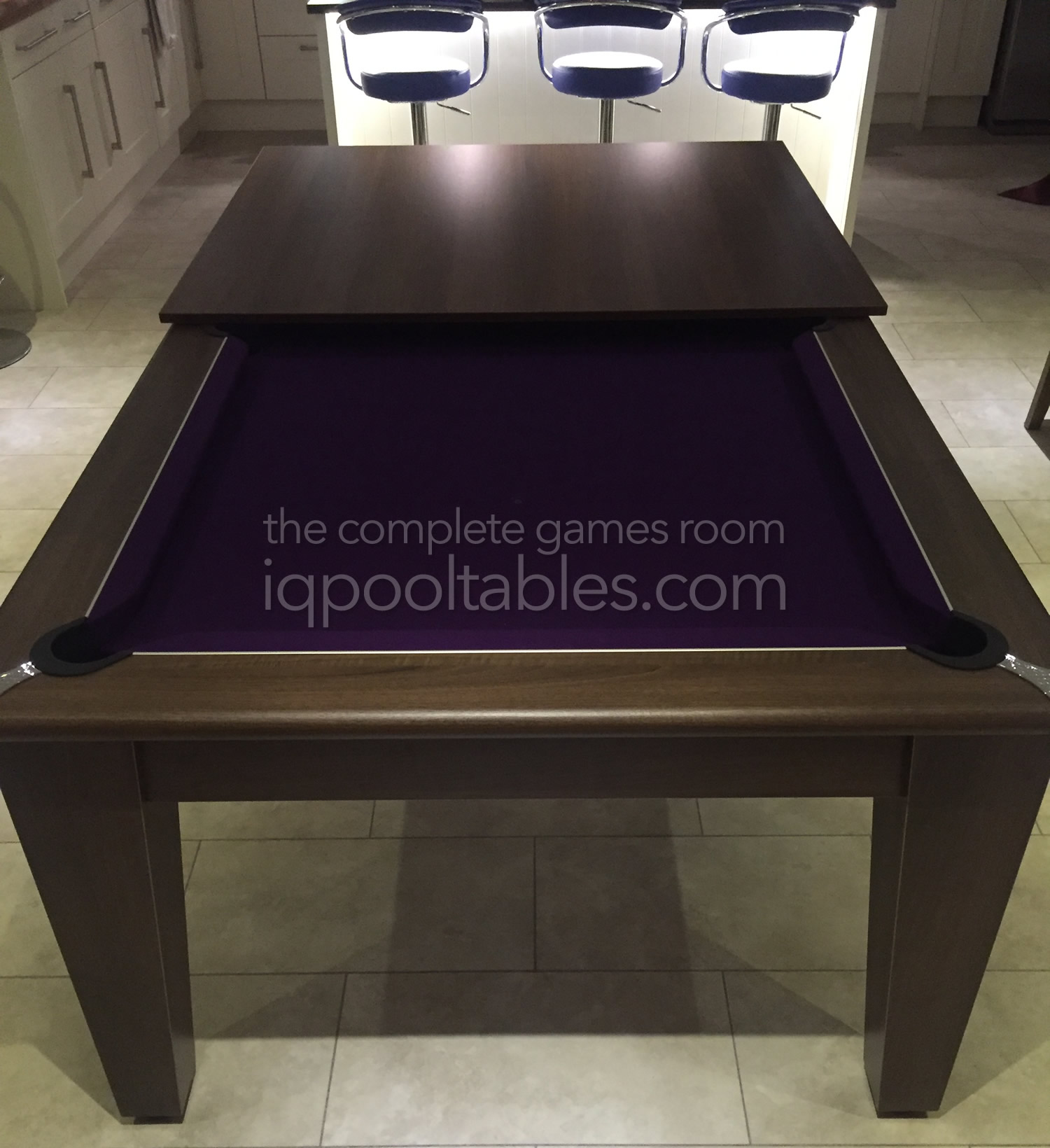 Gatley Classic Pool Dining Table Dark Walnut Finish/Purple Cloth