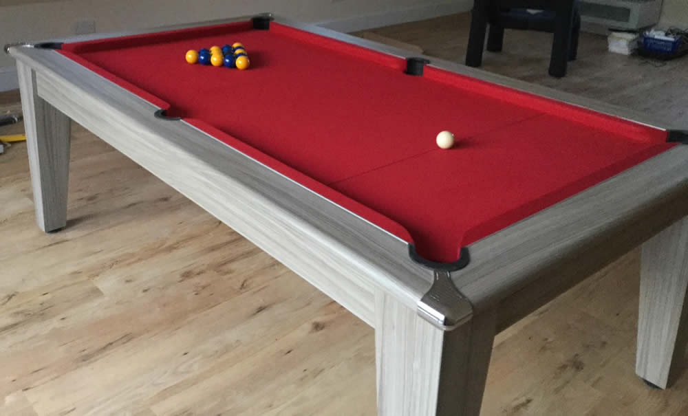 7ft Gatley Pool Dining Table Driftwood Finish with Red Wool Cloth