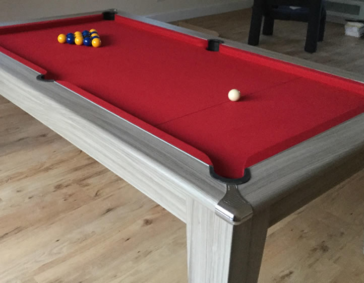 Gatley Classic 7ft Pool Dining Table Driftwood Finish/Red Cloth
