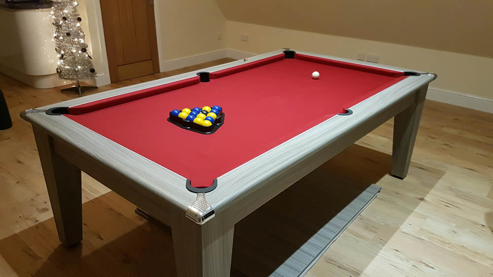 7ft Gatley Pool Dining Table with Red Wool Cloth
