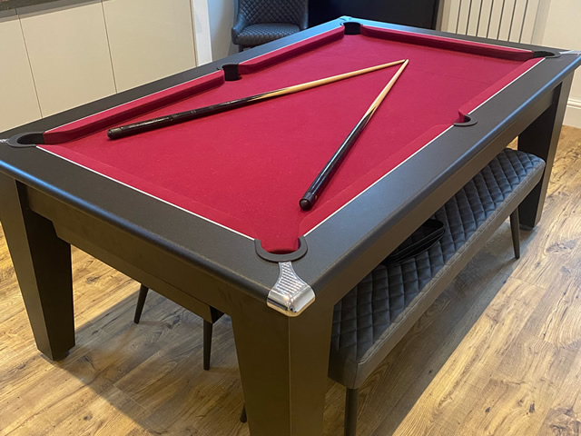 6ft Gatley classic dining pool table with black finish and burgundy cloth