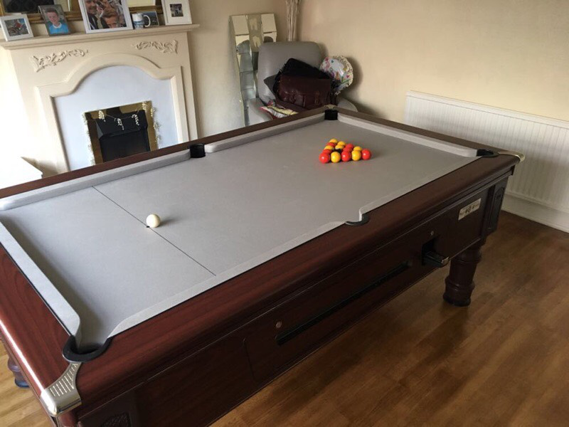 7ft Supreme Prince Pool Table recovered in silver napped wool cloth
