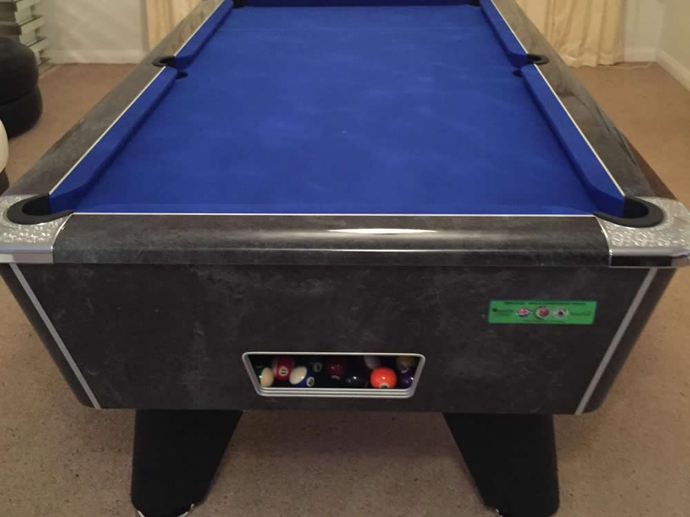 Supreme Winner Black High Gloss Marble Pool Table with Blue Cloth