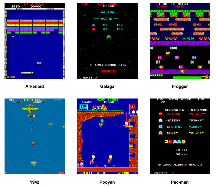 Example of Retro games available