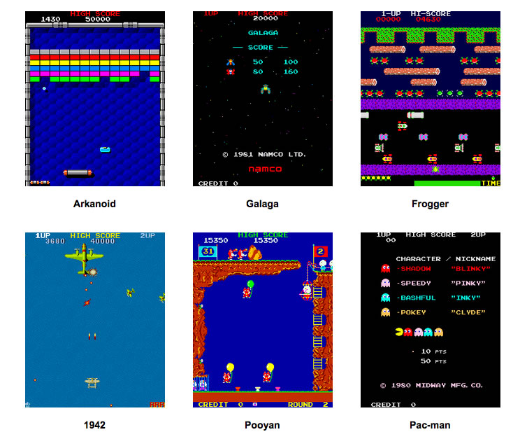 Selection of games for upright arcade machines