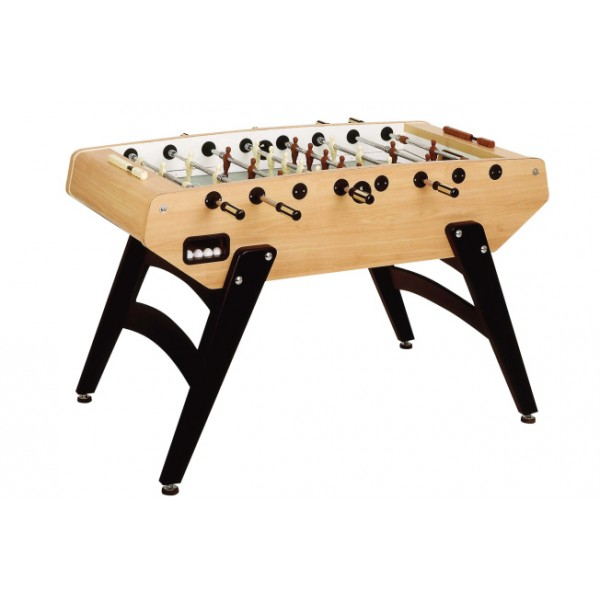 Garlando G-5000 Football Table with Telescopic Rods & Sanded Glass Playing Field - Pear