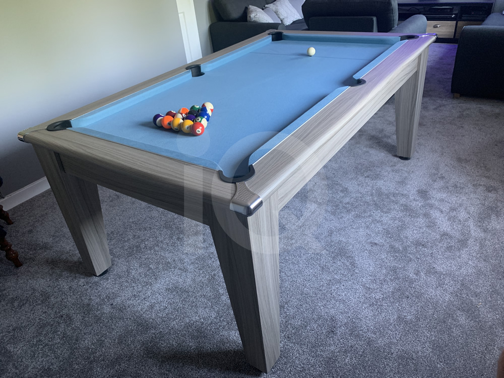 Gatley Driftwood Pool Dining Table with Powder Blue Cloth