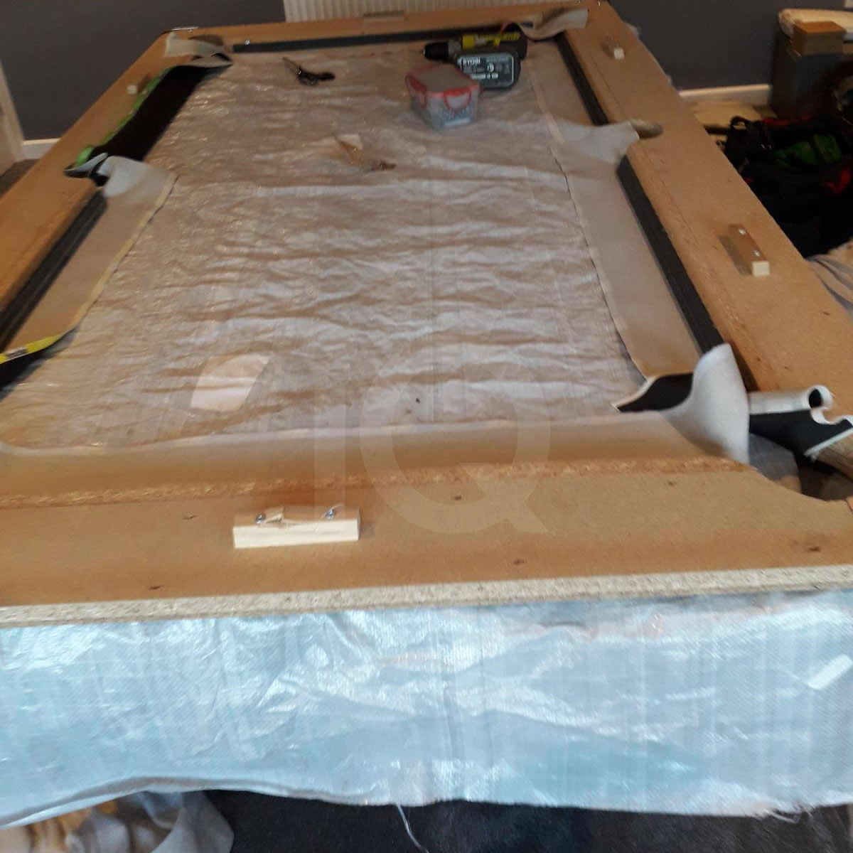 Installation of a Bee Custom Design Pool Table Cloth Before Image 1