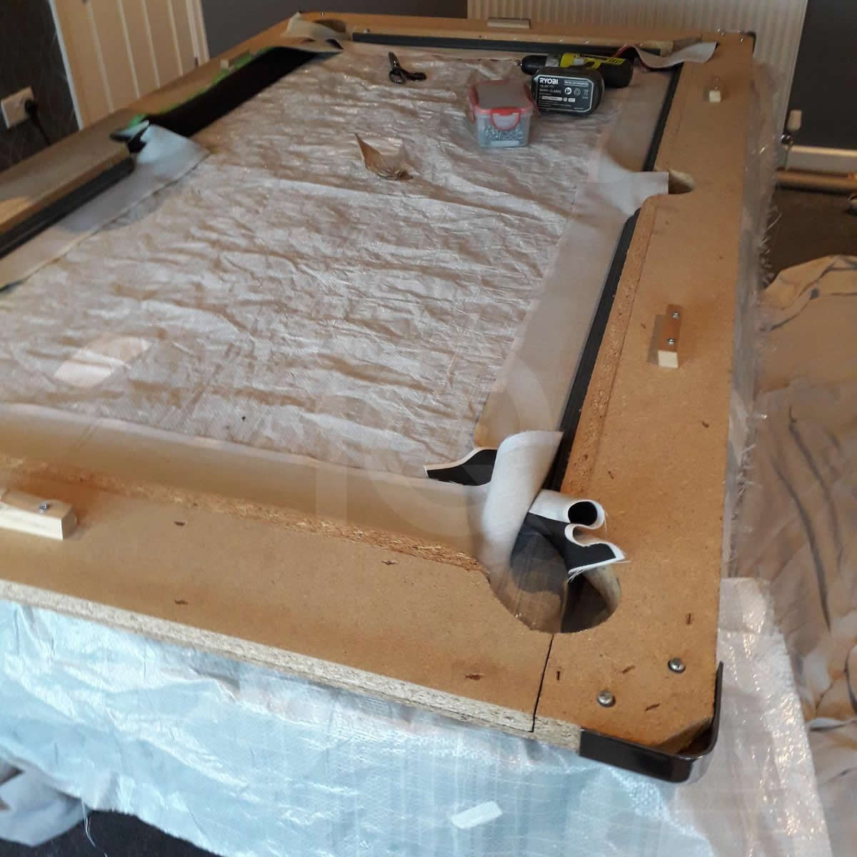 Installation of a Bee Custom Design Pool Table Cloth Before Image 2