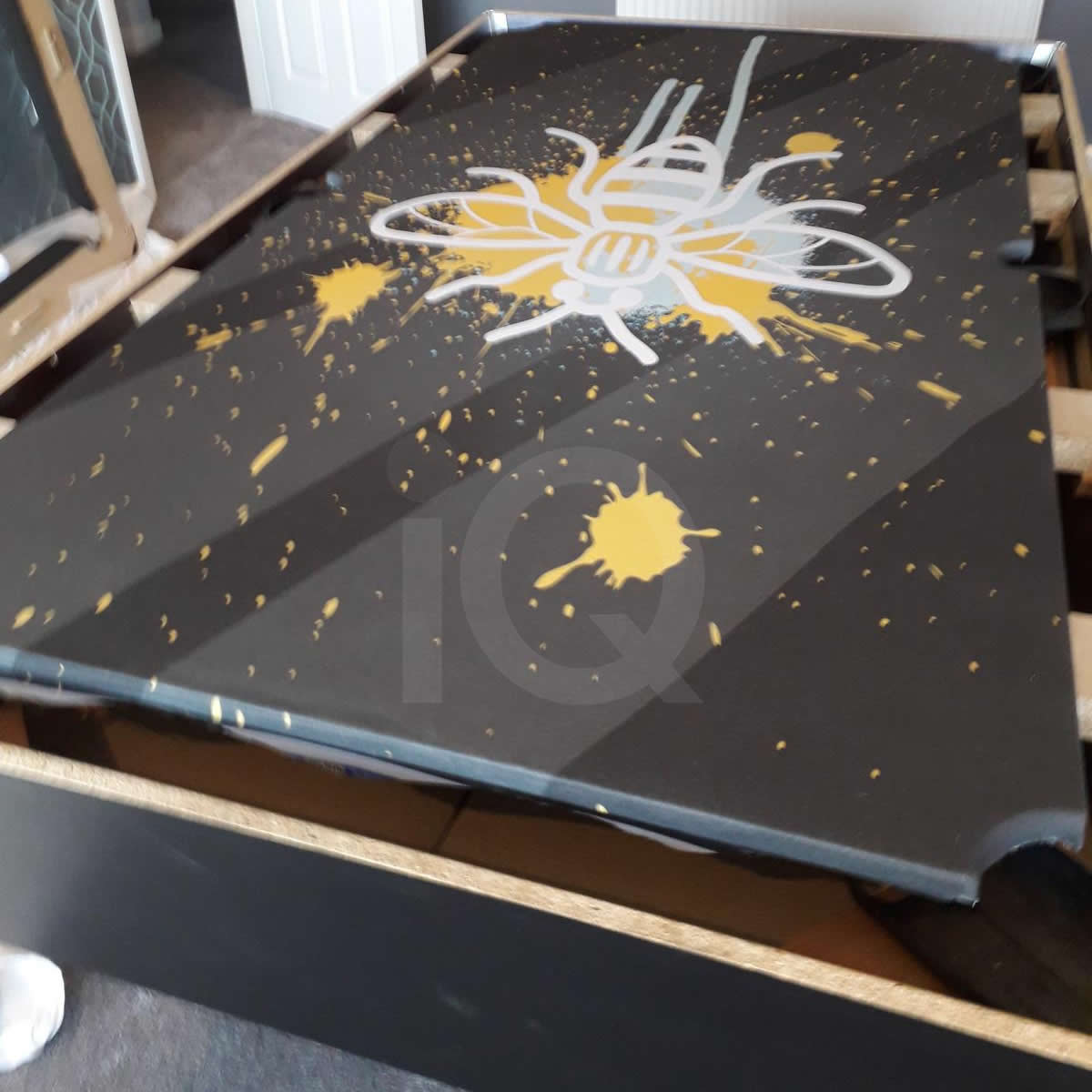 Installation of a Bee Custom Design Pool Table Cloth Before Image 3