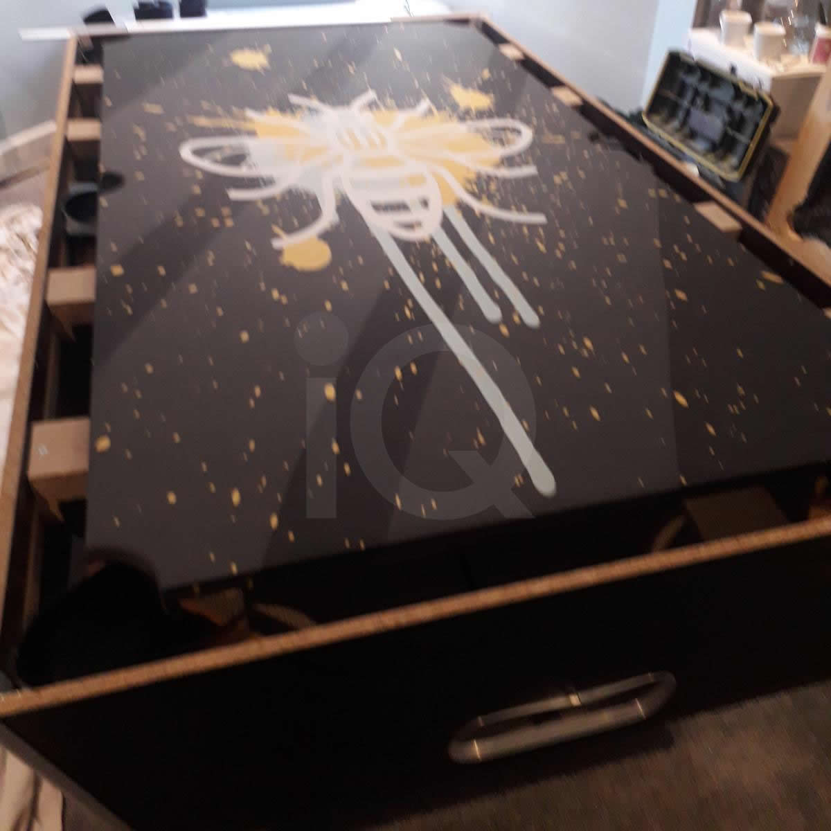 Installation of a Bee Custom Design Pool Table Cloth Before Image 4
