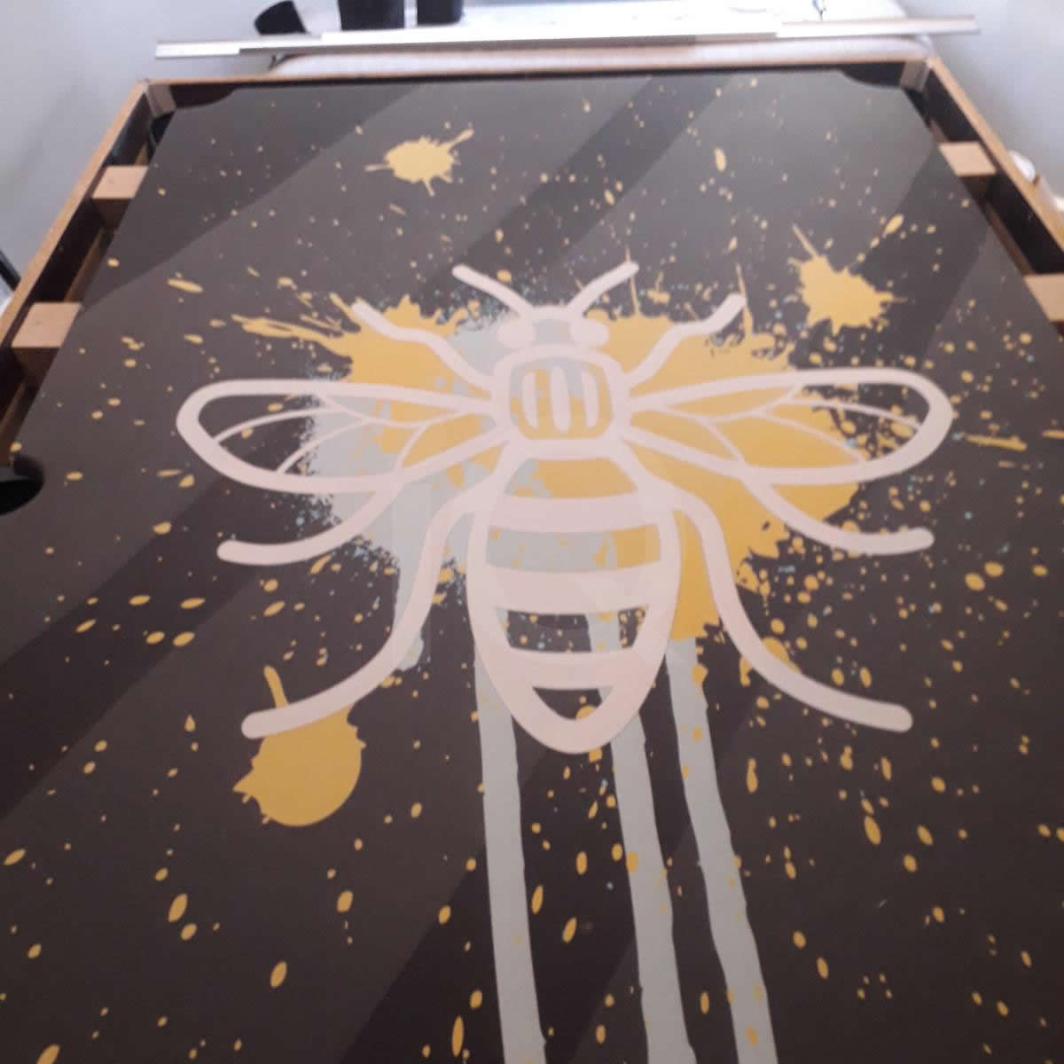 Installation of a Bee Custom Design Pool Table Cloth Before Image 5