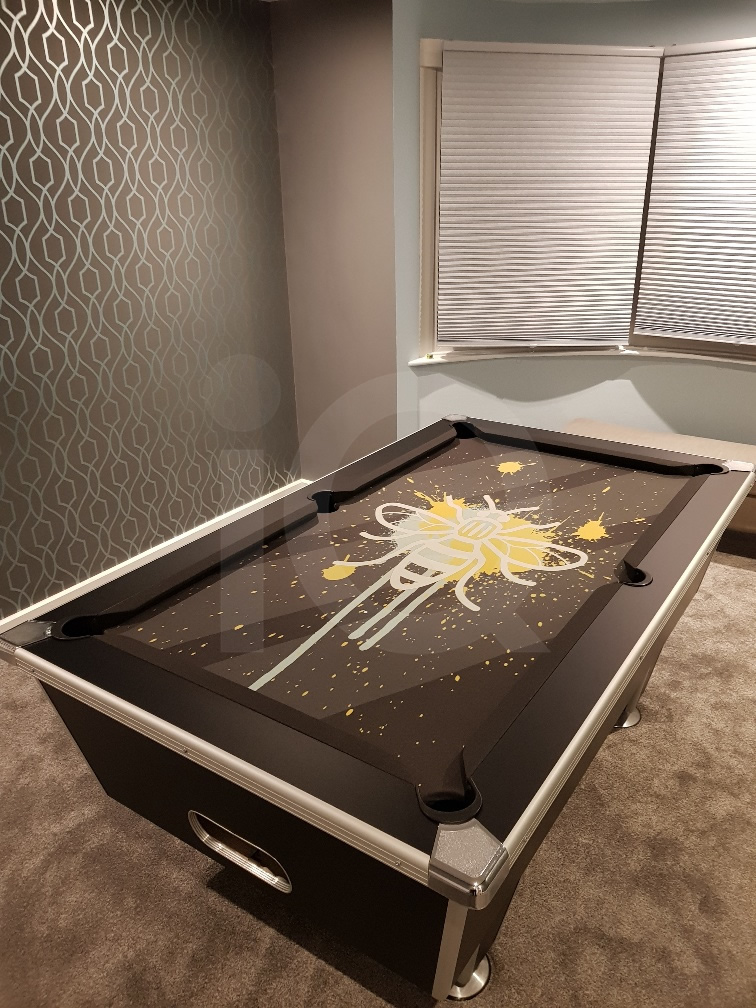 Installation of a Bee Custom Design Pool Table Cloth Resized Image 1