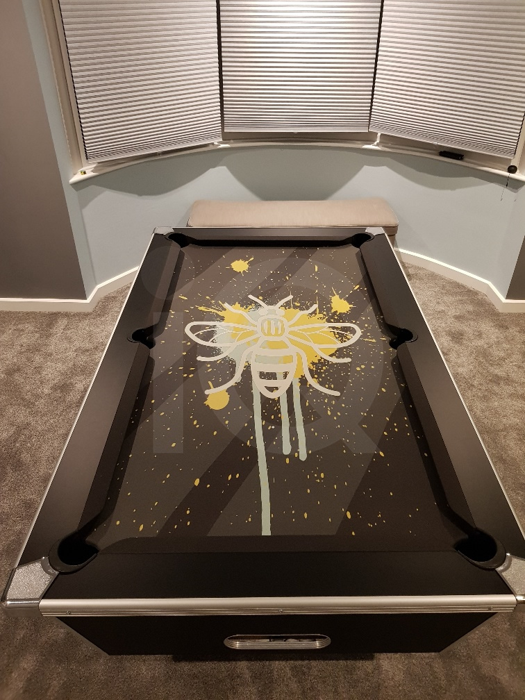 Installation of a Bee Custom Design Pool Table Cloth Resized Image 2