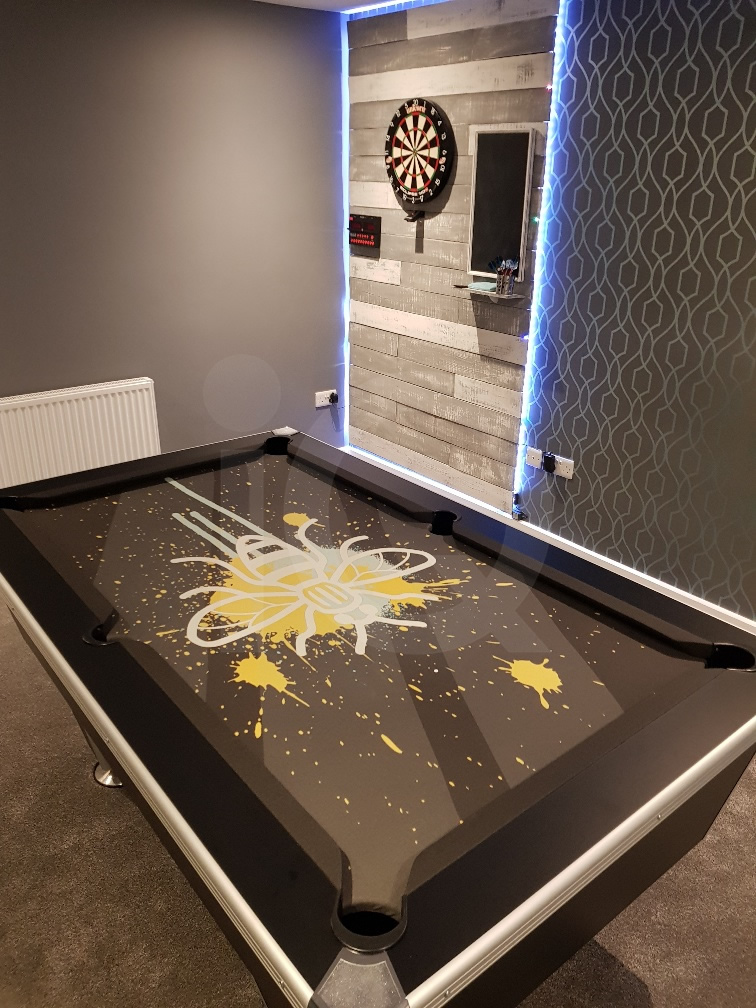 Installation of a Bee Custom Design Pool Table Cloth Resized Image 3