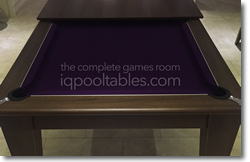 Gatley Walnut Pool Dining Table with purple cloth
