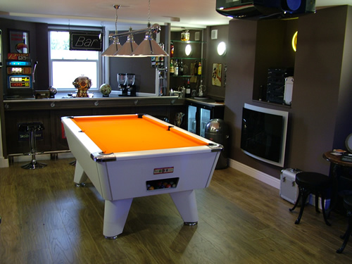 Supreme White Winner Pool Table With Orange Cloth