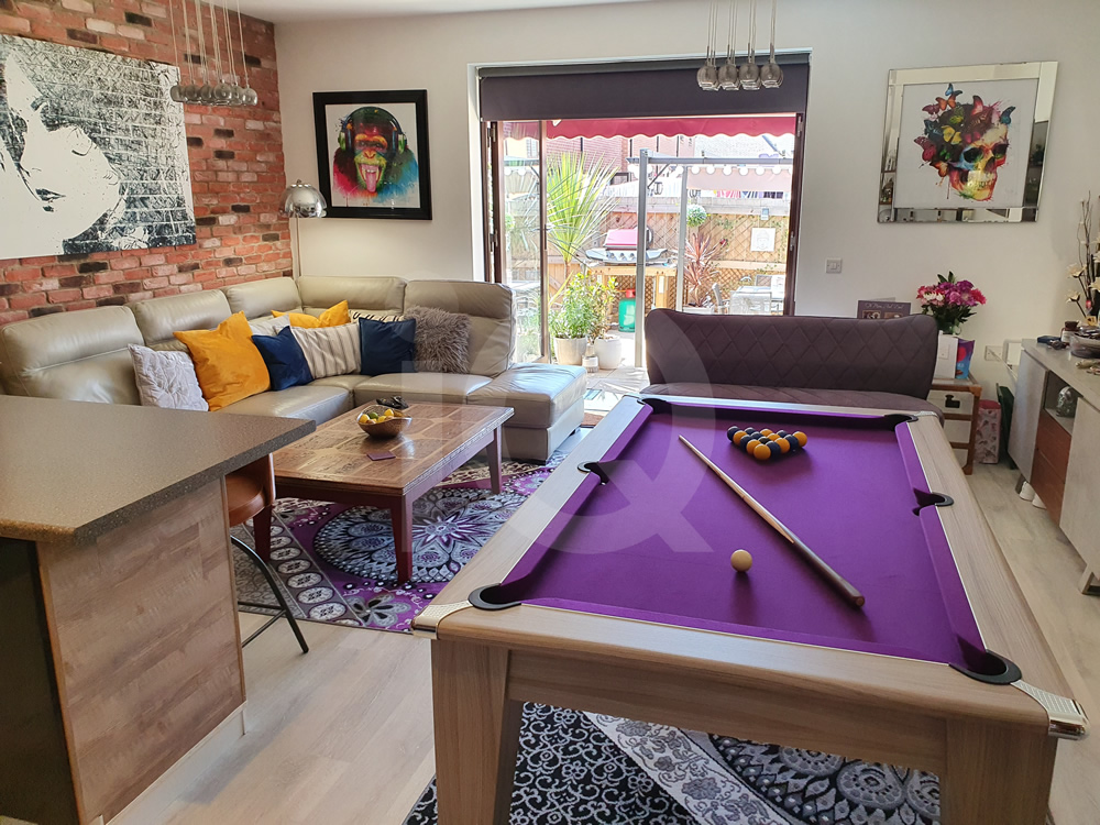Gatley Driftwood Pool Dining Table with Purple Cloth