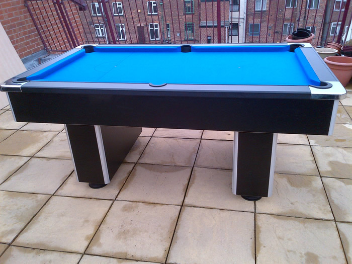 Gatley Slimline, Black Finish and Blue Cloth