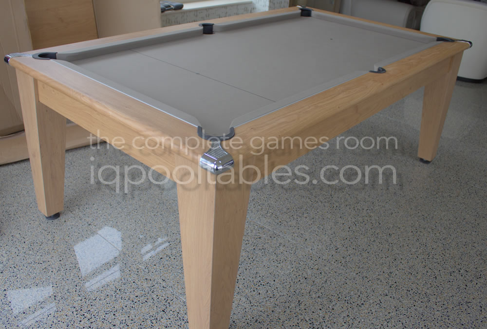 Gatley Classic Pool Dining Table in Oak Finish with Taupe Napped Wool Cloth