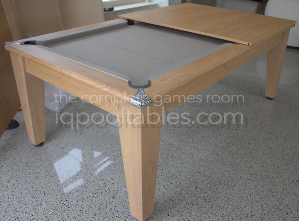 Gatley Classic Pool Dining Table Oak Finish/Taupe Cloth