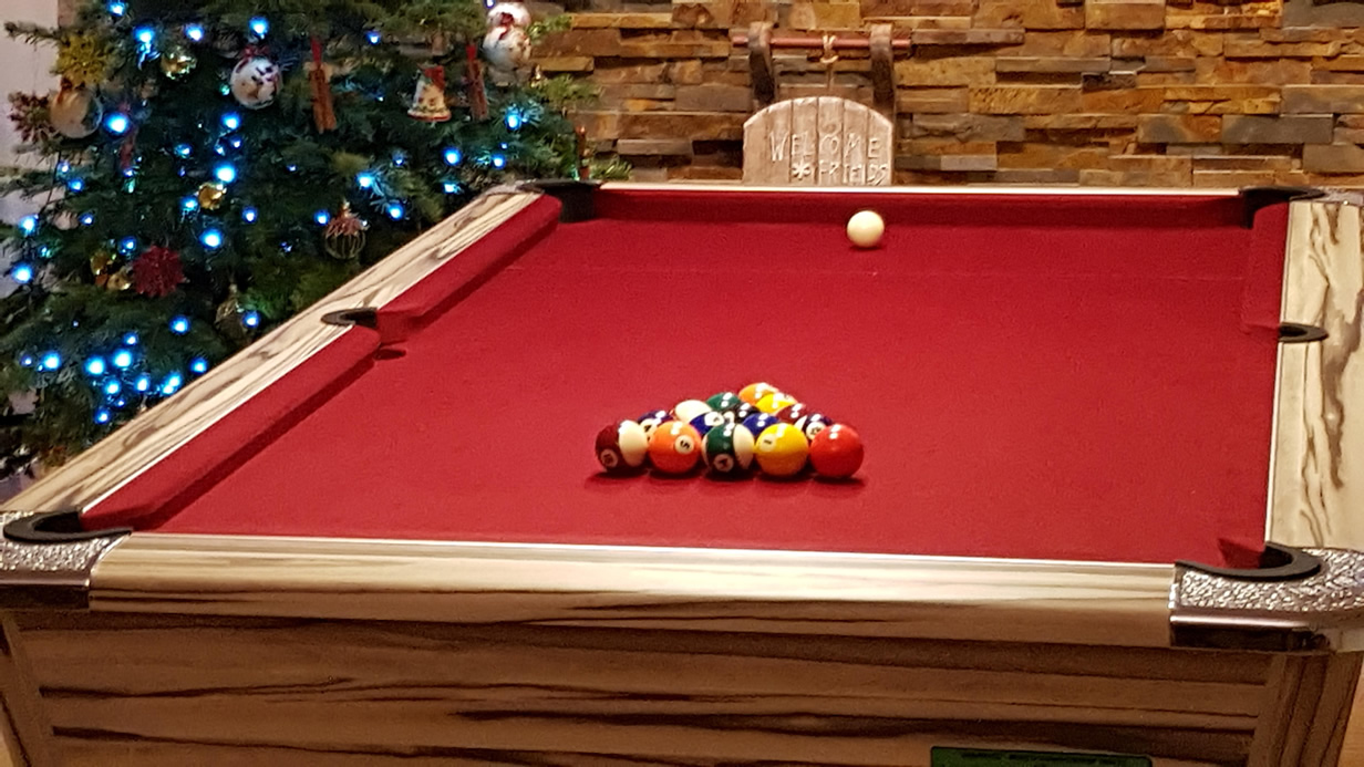 Supreme Winner Pool Table Artwood Finish with Red Cloth