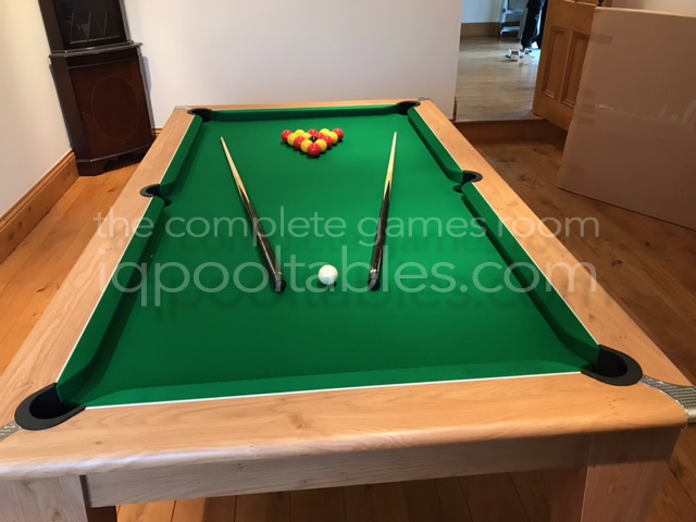 Gatley Classic 7ft Pool Dining Table Oak Finish/Green Cloth