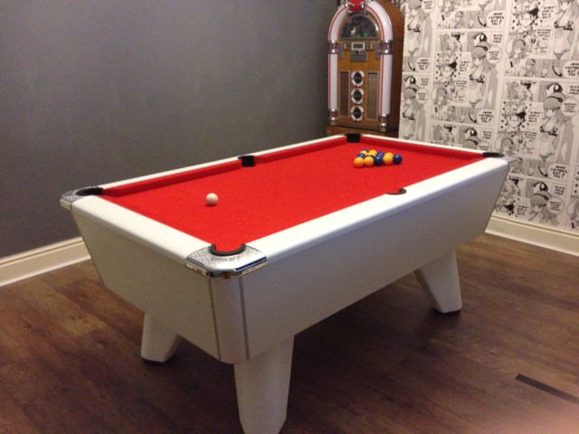 Supreme White Pearl Winner Pool Table with Red Cloth