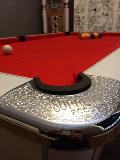 Supreme Winner Pool Table White Finish with Red Cloth