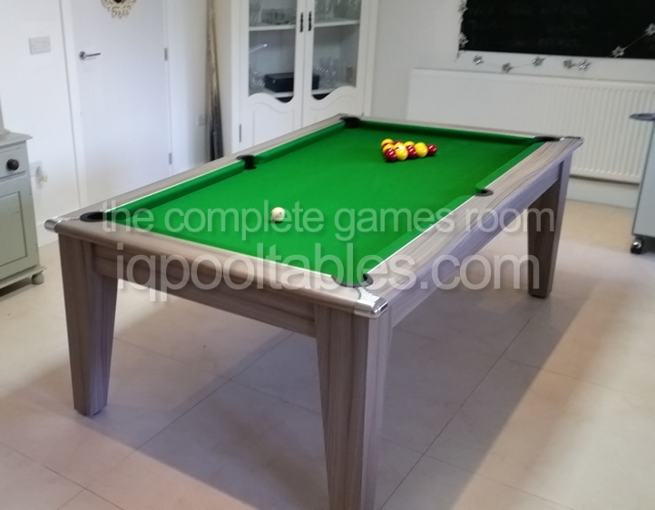 Gatley Classic Pool Dining Table Driftwood Finish/Green Cloth