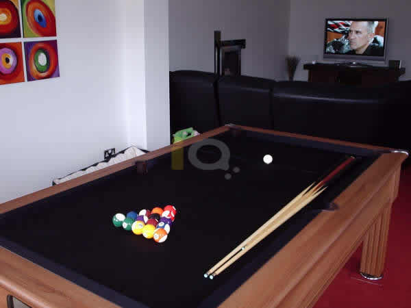 Slimline Pool Table in Walnut with Black Cloth