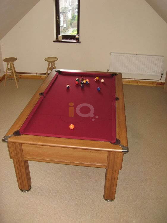 Slimline Pool Table in Walnut with Burgundy Cloth