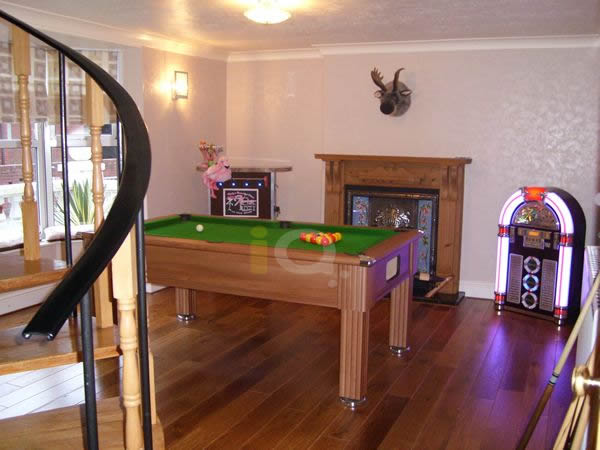 Slimline Pool Table in Walnut with Green Cloth