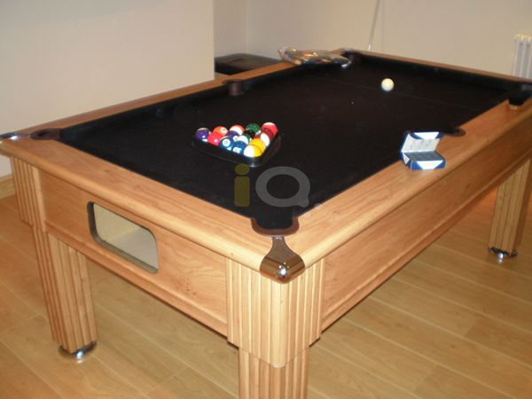 Iq install slimline pool table oak finish black cloth slimline pool table in oak with black cloth greentooth Choice Image