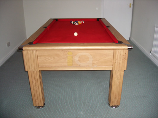 Slimline Pool Table Oak Finish / Red Cloth