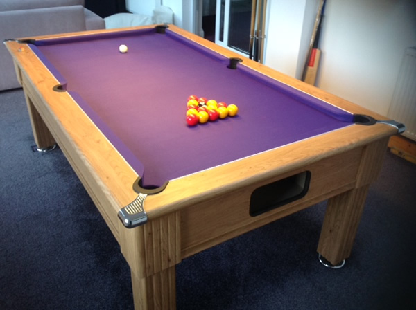Slimline Pool Table In Oak With Purple Cloth