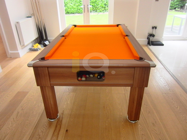 Slimline Pool Table Walnut Finish / Orange Cloth