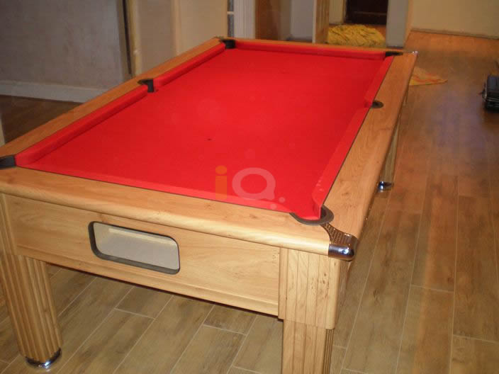 Slimline Pool Table Oak Finish with Red Cloth