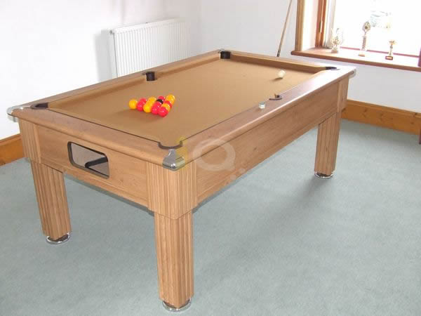 Slimline Pool Table in Oak with Tan Cloth