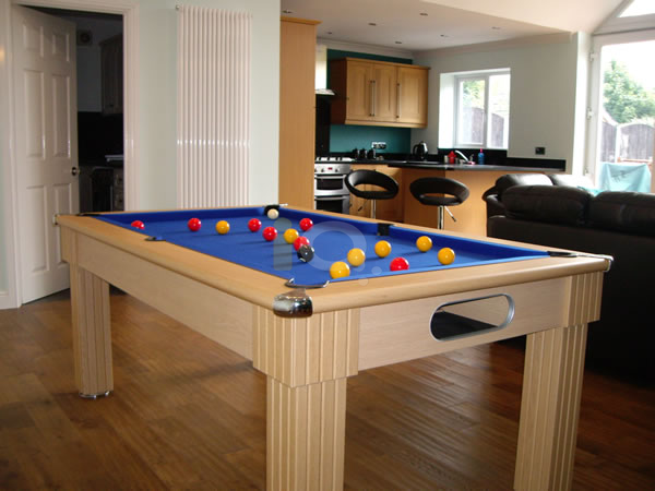 Slimline Pool Table Oak Finish / Blue Cloth