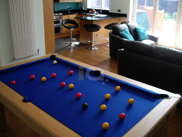 Slimline Pool Table in Oak with Blue Cloth