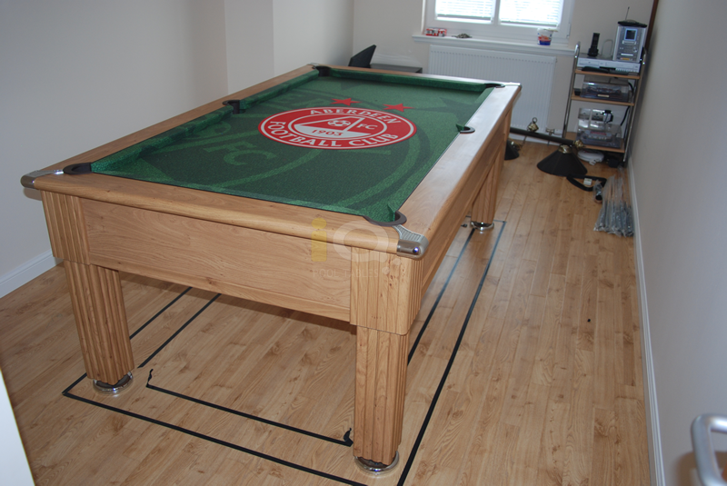 Slimline Pool Table in Oak with Custom Green Aberdeen Football Cloth