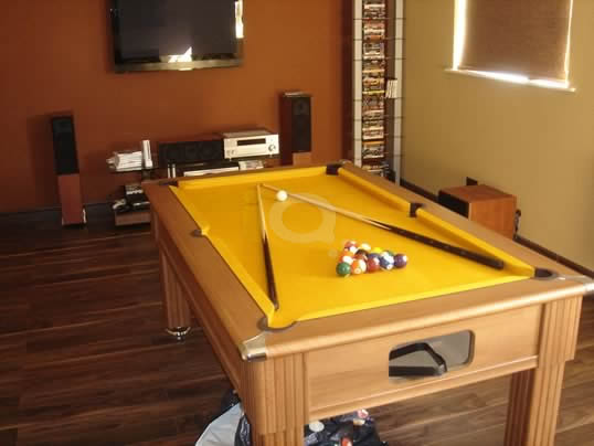 Slimline Pool Table Walnut Finish / Gold Cloth