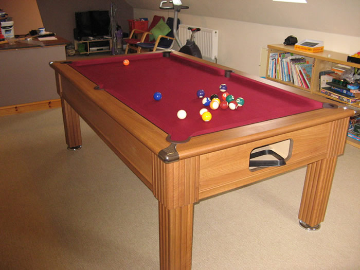 Slimline Pool Table Walnut Finish / Burgundy Cloth