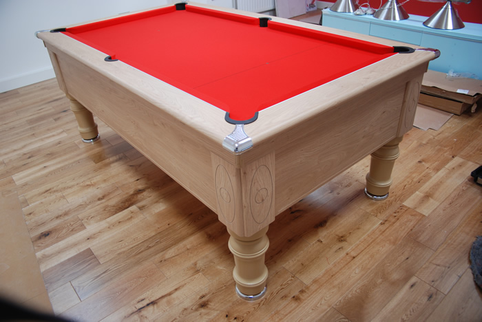 Supreme Prince Pool Table Oak Finish / Red Cloth
