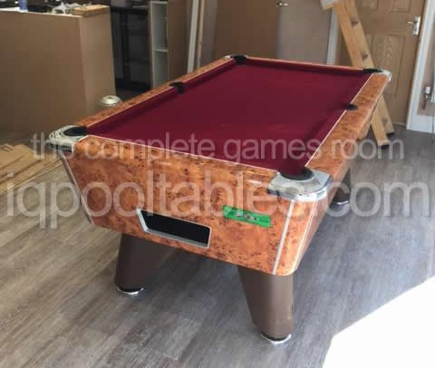 Supreme Winner Pool Table Amberwood Finish with Burgundy Cloth