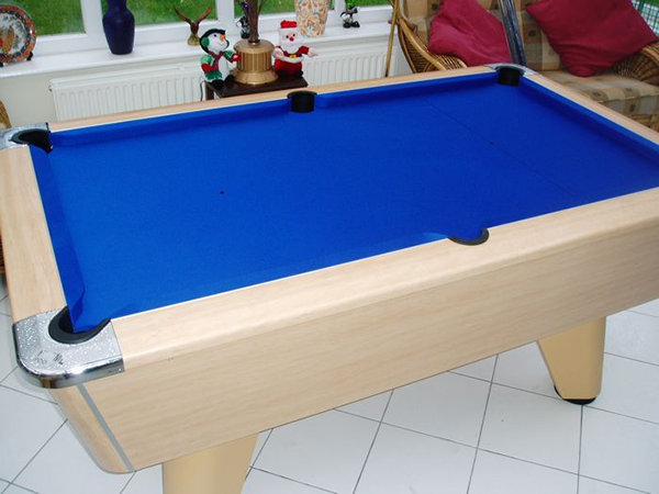 Supreme Winner Pool Table Beech Finish with Blue Cloth