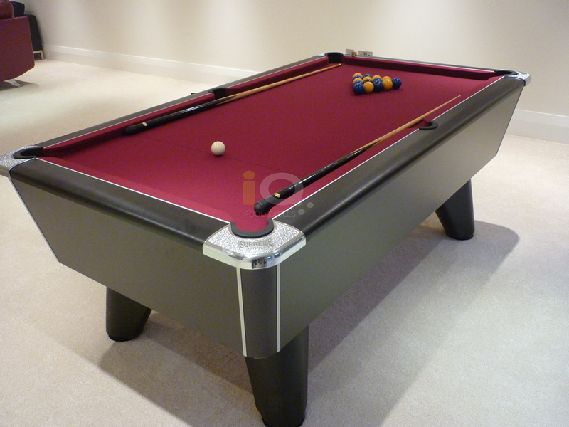 IQ Install Supreme Winner Pool Table Black Finish Burgundy Cloth - How to install pool table felt
