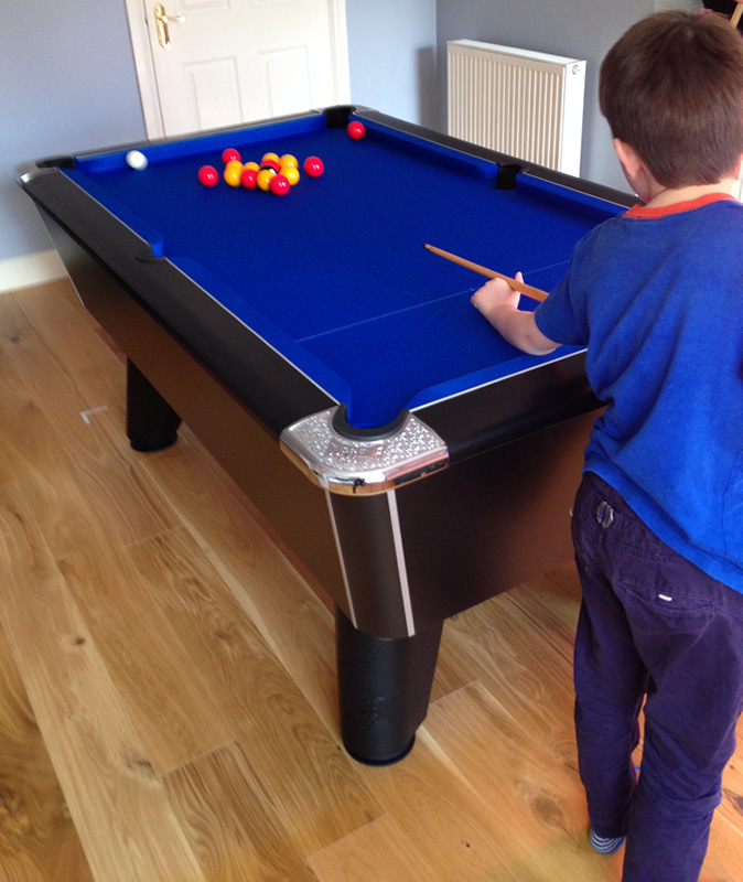 Supreme Winner Pool Table in black laminate finish with blue cloth