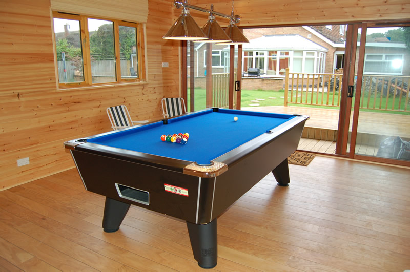 Recent Installation of Supreme Pool Tables in Black Finish with Blue Cloth